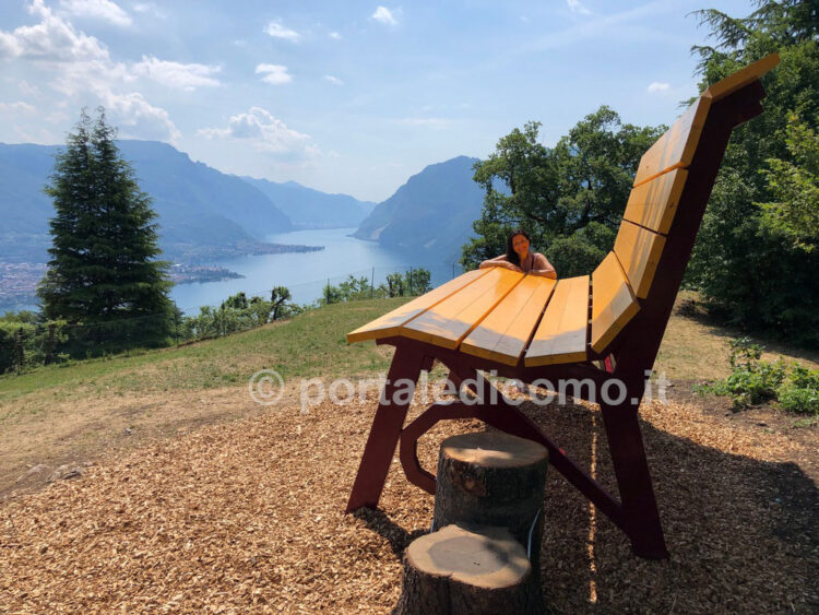 panchina gigante lago di Como Bellagio Civenna